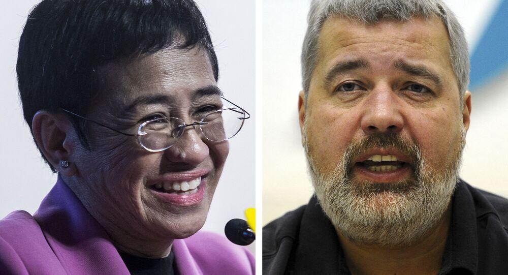 Os laureados do Prêmio Nobel da Paz de 2021 Maria Ressa e Dmitry Muratov