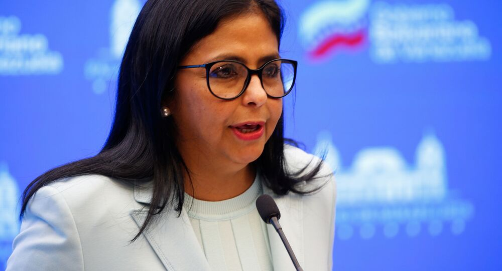 Delcy Rodríguez, vice-presidente da Venezuela, fala à mídia no Palácio Miraflores em Caracas, Venezuela, 22 de setembro de 2021
