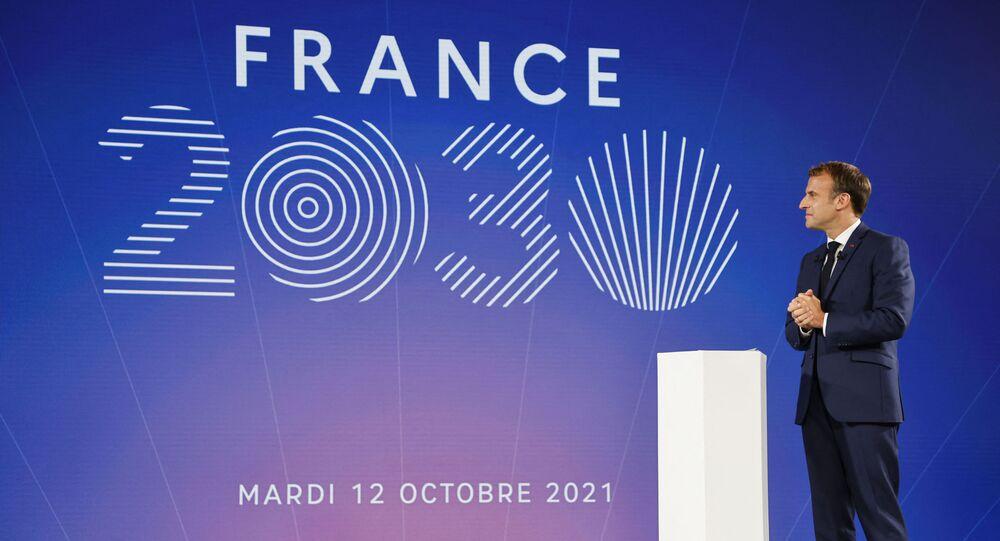 Presidente da França, Emmanuel Macron, durante apresentação do plano de investimento França 2030, em Paris, em 12 de outubro de 2021