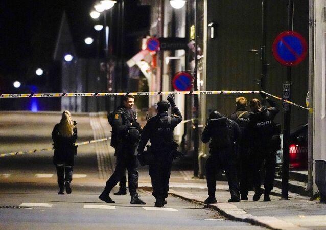 Policiais isolam local de crime em Kongsberg, Noruega, depois que um homem armado com arco matou várias pessoas antes de ser preso pela polícia em 13 de outubro de 2021