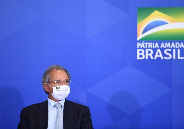 Ministro da Economia do Brasil, Paulo Guedes durante cerimônia no Palácio do Planalto, em Brasília