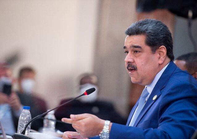 Nicolás Maduro, presidente da Venezuela, fala durante cúpula da Comunidade dos Estados da América Latina e do Caribe (CELAC, na sigla em inglês), no Palácio Nacional da Cidade do México, México, 18 de setembro de 2021