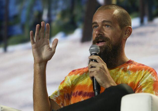 Jack Dorsey, CEO do Twitter e cofundador & CEO da Square, fala durante conferência de criptomoedas Bitcoin 2021 Convention em Miami, Flórida, 4 de junho de 2021