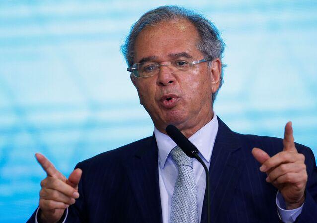 Ministro da Economia do Brasil, Paulo Guedes no Palácio do Planalto em Brasília, Brasil