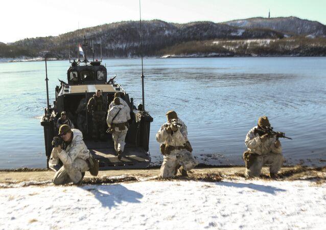 Fuzileiros navais de vários países, incluindo dos EUA, participam dos exercícios Cold Response na Noruega