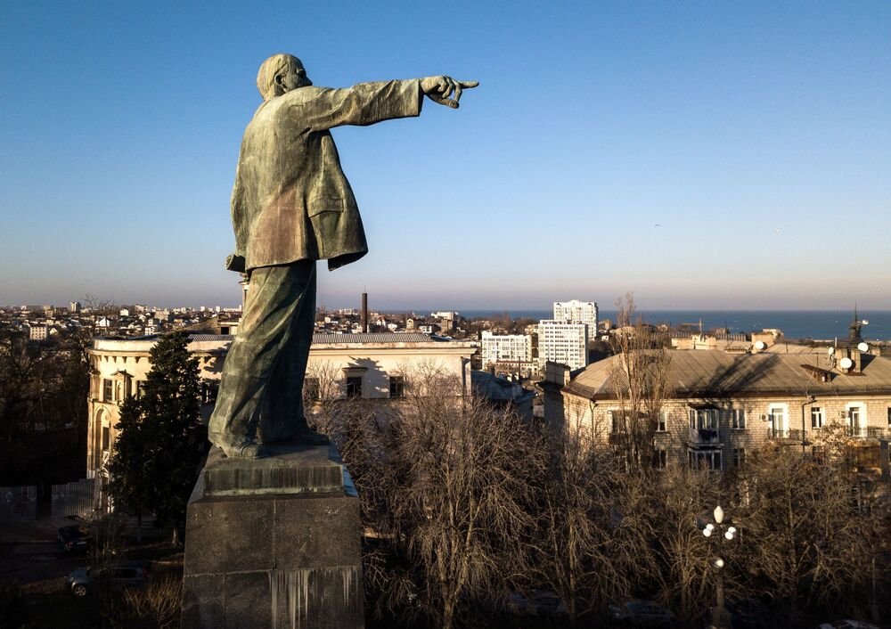 Monumento a Lenin na cidade de Sevastopol, na Crimeia