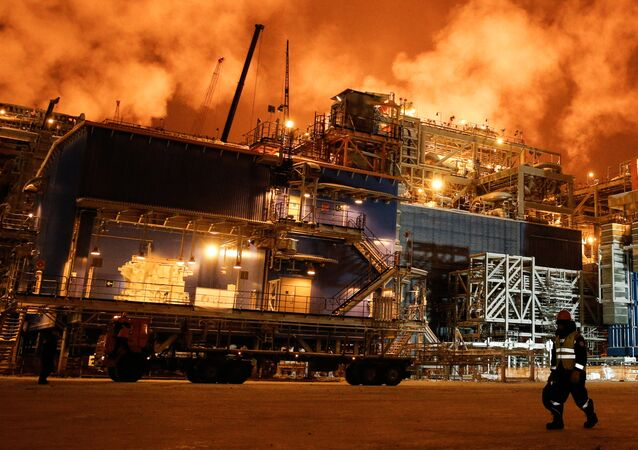 A view taken on December 7, 2017 shows the Yamal LNG plant in the port of Sabetta on the Kara Sea shore line on the Yamal Peninsula in the Arctic circle, some 2500 km of Moscow