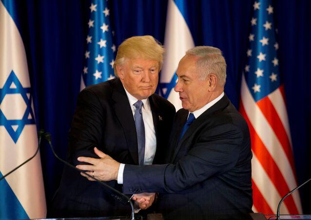 Presidente dos EUA, Donald Trump, e o primeiro-ministro de Israel, Benjamin Netanyahu
