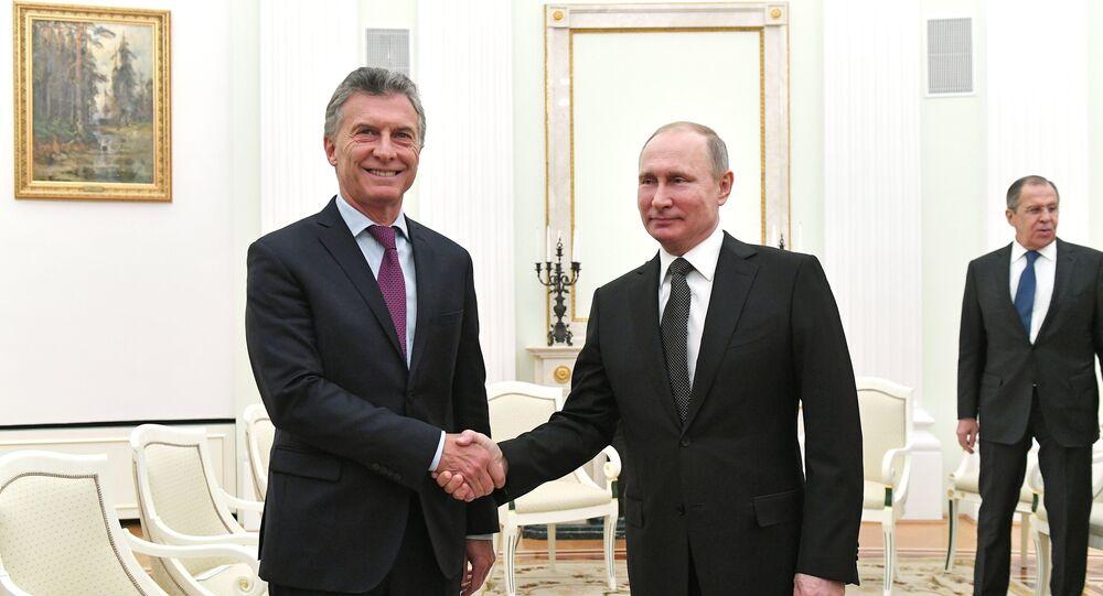 Presidente da Argentina, Mauricio Macri, e o presidente da Rússia, Vladimir Putin, 23 de janeiro de 2018