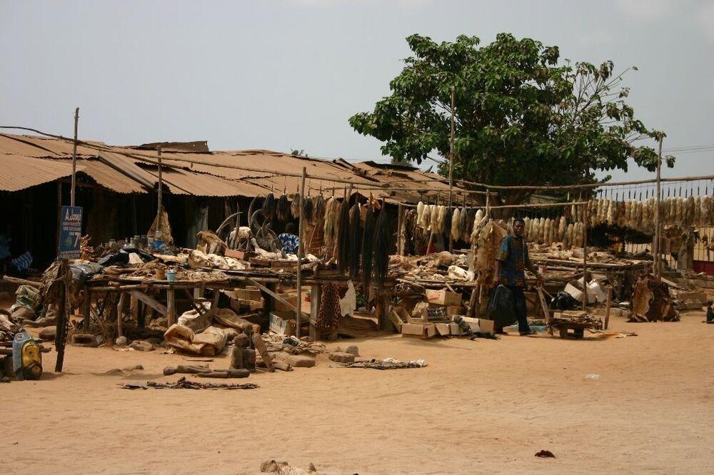 O mercado de Akodessewa é do tamanho da metade de um campo de futebol, repleto de mercadorias pelo chão no centro e pequenas lojas ao redor
