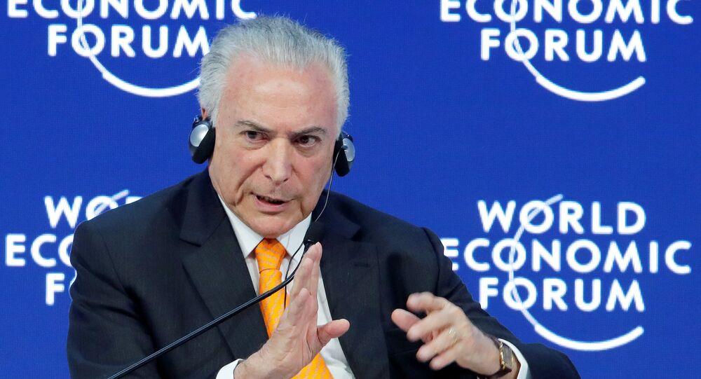 Michel Temer fazendo um discurso no Fórum Econômico Mundial em Davos, 24 de janeiro de 2018