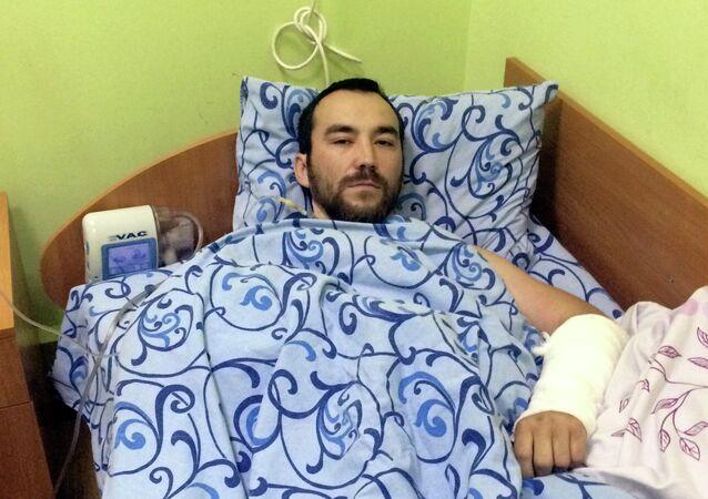 Yevgeny Yerofeyev em um hospital de Kiev, Ucrânia, em 18 de maio de 2015
