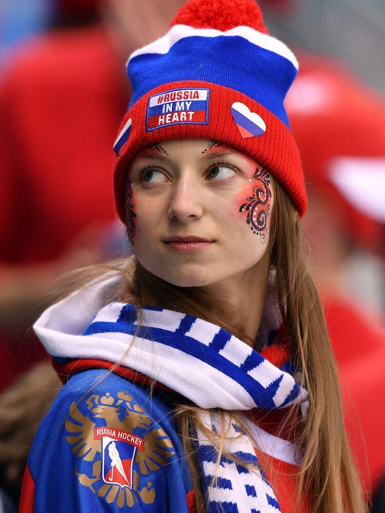 Torcedora russa nos Jogos Olímpicos de Inverno em Pyeongchang