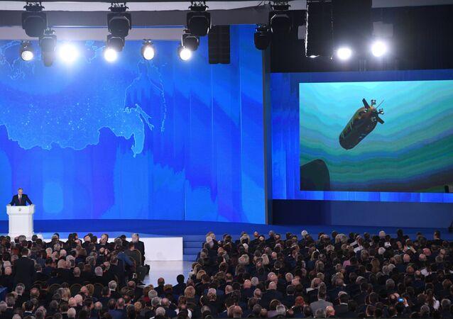 Imagem do novo drone submarino russo mostrada durante a mensagem anual de Vladimir Putin à Assembleia Federal Rússia