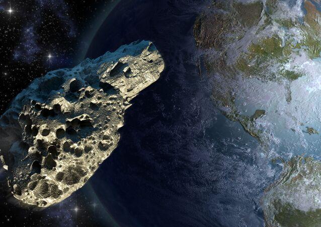 Asteroide se aproximando da Terra (imagem referencial)