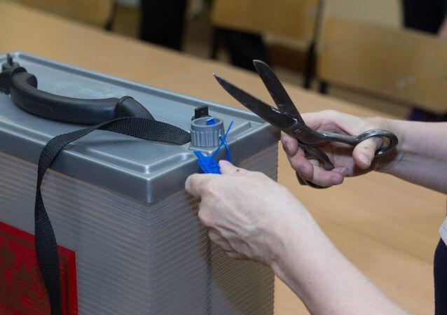Contagem de votos nas presidenciais russas, em 18 de março de 2018