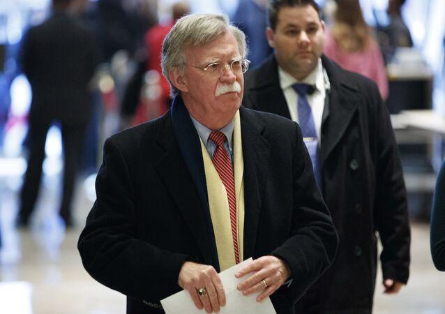 John Bolton, ex-embaixador dos EUA na ONU, chega a um encontro com Donald Trump em 2 de dezembro de 2016 em Nova York