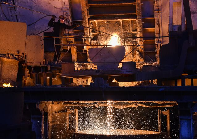 Produção de aço na fábrica russa Vyksa Steel Works, região de Nizhny Novgorod, na Rússia, 2 de março de 2018
