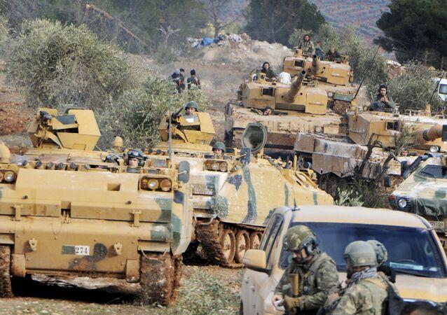 Forças turcas durante operação em Afrin, na Síria (arquivo)