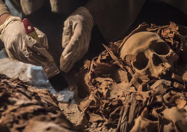 Arqueólogo desenterrando múmia em túmulo dedicado ao antigo deus Amon em Luxor, Egito