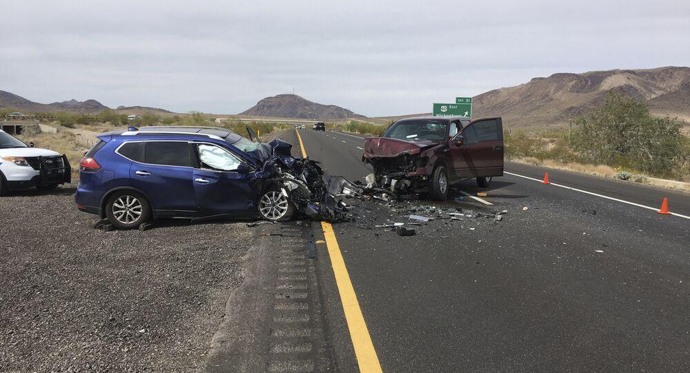 Acidente de carro nos Estados Unidos.
