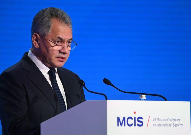 Ministro da Defesa da Rússia, Sergei Shoigu, durante a cerimônia de abertura da VII Conferência de Segurança de Moscou