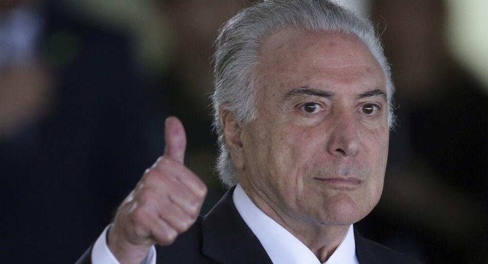 Presidente do Brasil, Michel Temer, chegando à Cúpula do Mercosul no Palácio do Itamaraty, em Brasília, em 2017 (arquivo)