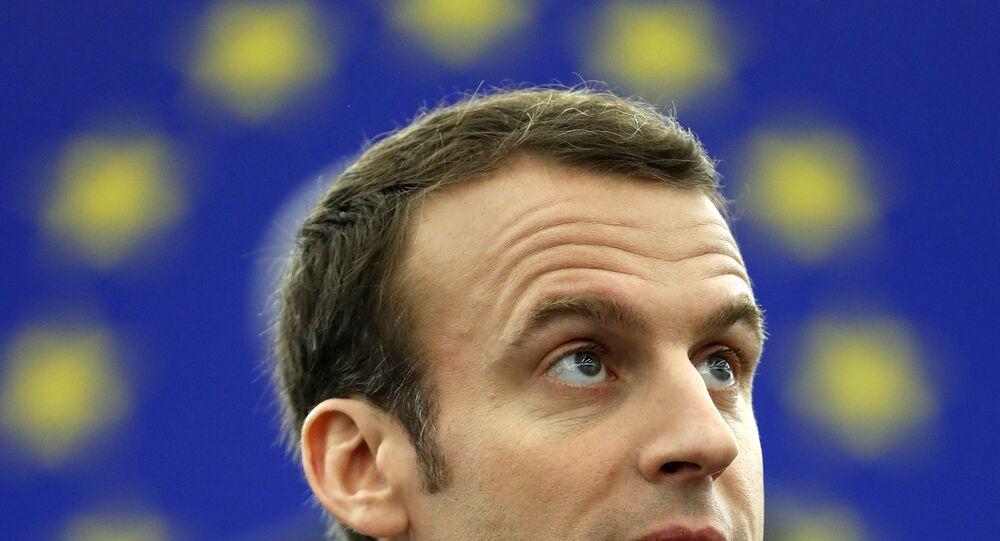 O presidente francês Emmanuel Macron fala ao Parlamento Europeu, em Estrasburgo, na França, em 17 de Abril de de 2018.