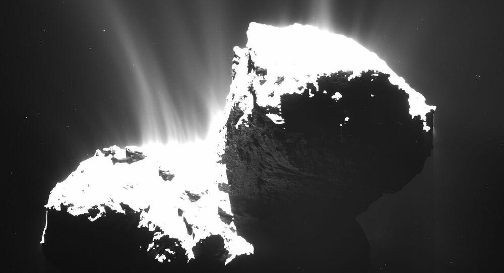 Cometa 67P/Churyumov-Gerasimenko, cujas fotos originais foram tiradas pela câmera OSIRIS em 1º de junho de 2016