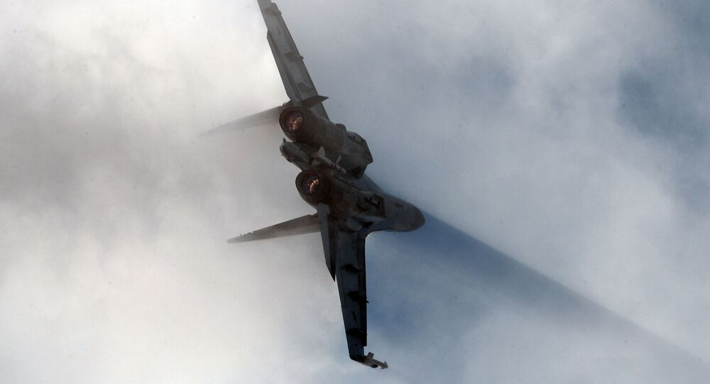 Caça Su-35 durante apresentação no salão internacional aéreo MAKS 2015 nos subúrbios de Moscou