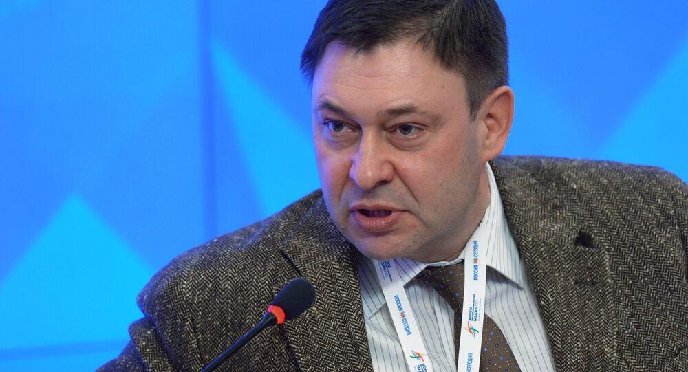 Chefe da RIA Novosti na Ucrânia, Kirill Vyshinsky, em conferência de 2015.