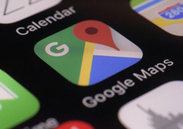 Logotipo do aplicativo do Google Maps na tela de um smartphone