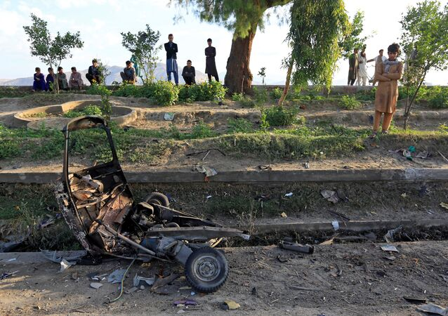 Lugar das explosões, Jalalabad, Afeganistão, 19 de maio de 2018