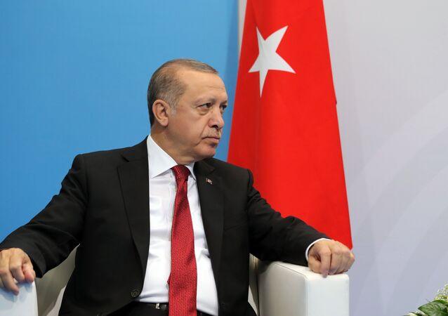O presidente da Turquia Recep Tayyip Erdogan durante encontro com seu homólogo russo Vladimir Putin
