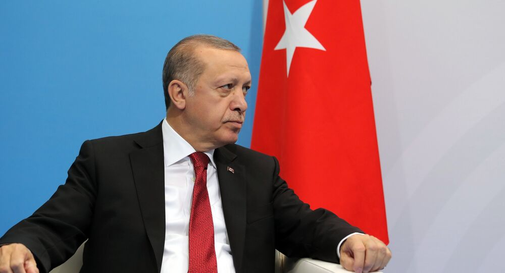 President of Turkey Recep Tayyip Erdogan during a meeting with Russian President Vladimir Putin on the sidelines of the G20 summit in Hamburg