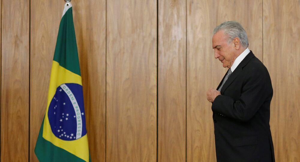 Michel Temer, presidente do Brasil, recebe credenciais dos embaixadores no Palácio do Planalto, em 25 de abril de 2018