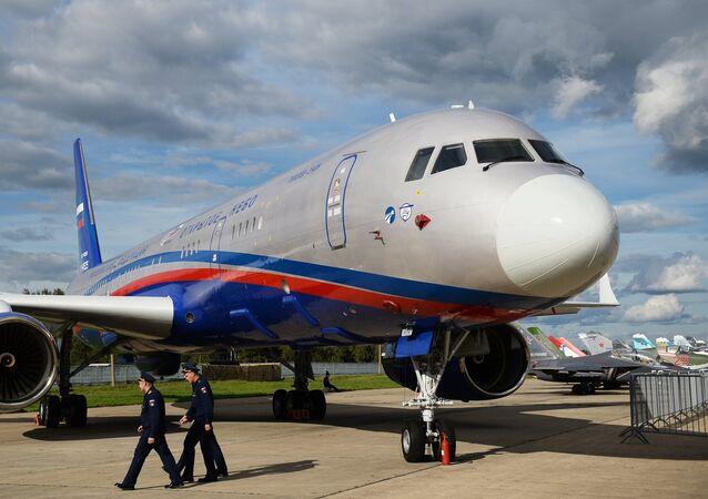 Avião de reconhecimento Tu-214ON durante o fórum EXÉRCITO 2016, nos arredores de Moscou (foto de arquivo)