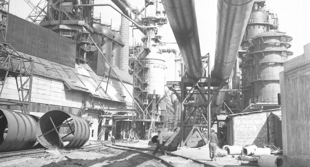 Oficina da usina de produção de aço Azovstal, na república da Ucrânia, na URSS (foto de arquivo)