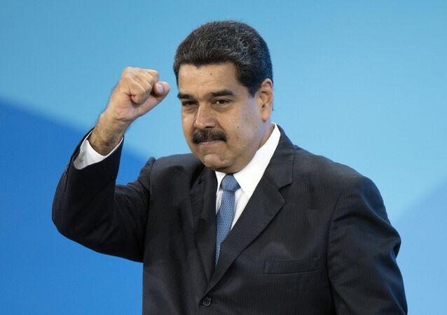 Presidente da Venezuela, Nicolás Maduro, na sessão plenária do primeiro Fórum Internacional sobre Eficiência Energética e Desenvolvimento de Energia Russian Energy Week