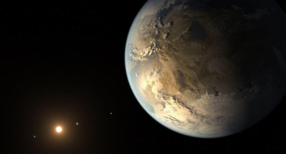 Ilustração artística de um planeta do tamanho da Terra orbitando uma estrela distante
