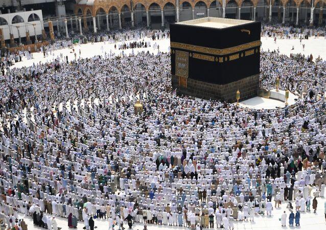Peregrinos na Grande Mesquita de Meca (foto de arquivo)