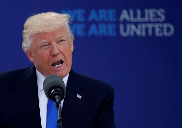 Presidente dos EUA, Donald Trump, faz comentários no início da cúpula da OTAN em sua nova sede em Bruxelas, na Bélgica