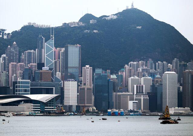 Hong Kong vista do mar.