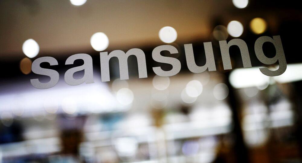 O logotipo da Samsung Electronic é visto em sua sede em Seul, na Coreia do Sul (arquivo).