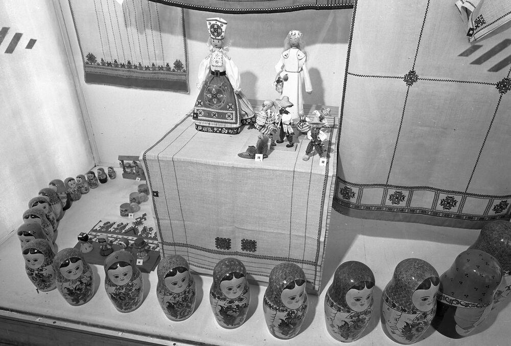 Estande soviético na Feira Industrial de Hannover, em Hannover