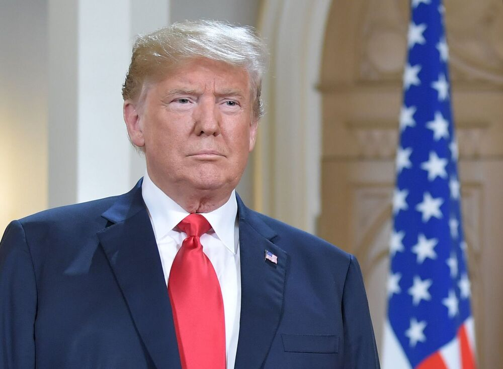 Presidente dos Estados Unidos, Donald Trump, durante reunião com o presidente russo no palácio presidencial em Helsinque, em 16 de julho de 2018