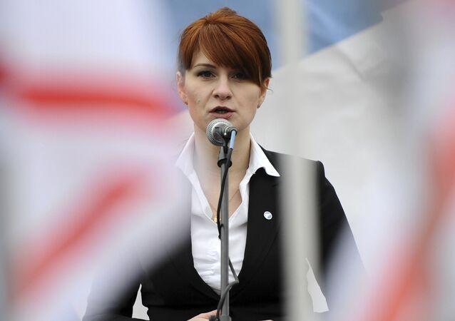 Maria Butina durante manifestação em apoio à legalização da posse de armas de fogo em Moscou, Rússia (foto de arquivo)