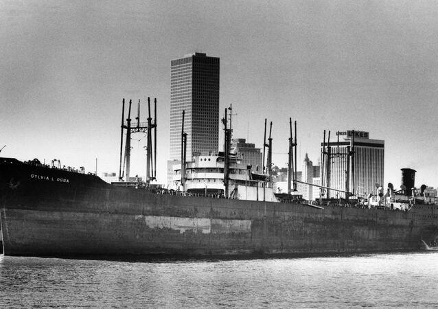 Navio de carga Sylvia L. Ossa, desaparecido no Triângulo das Bermudas, março de 1975 (foto de arquivo)