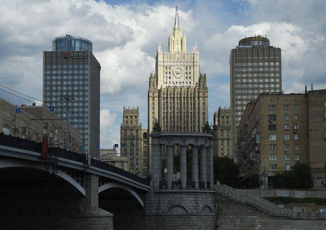 O edifício do Ministério das Relações Exteriores da Rússia em Moscou.