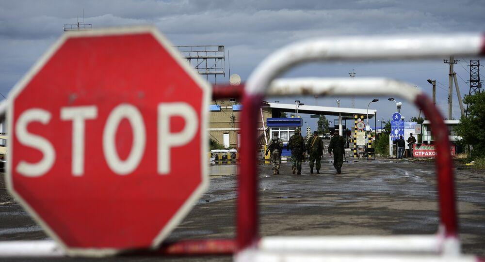 Ponto de passagem da fronteira Izvarino na região de Lugansk após tiroteio, 21 de junho de 2014